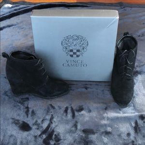 Vince Camuto black suede wedge booties size 7.5M